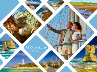 Printed kitchen splashbacks Australia Australia. Travel photo collage. Conceptual illustration tourism
