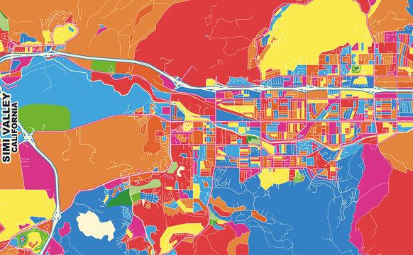 Simi Valley, California, USA, colorful vector map