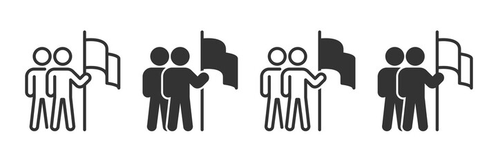 Career target icons in four different versions in a flat design Wall mural