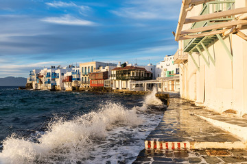 Bright scenic view of the colorful waterfront. Mykonos Town, Greece Fototapete