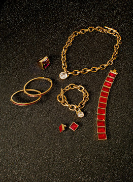 Gold jewelry with diamonds and rubies