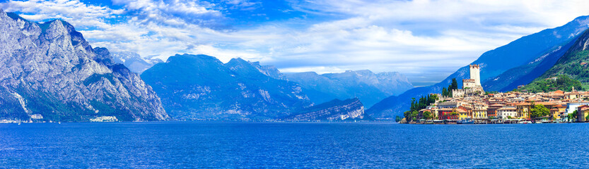 Lake Garda (Lago di Garda) is one of the most popular and beautiful lakes of Italy. View of Malcesine village.