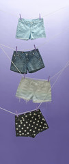 Clothes lines hung with polka dot shorts