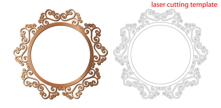 Laser cut photo frame with ornamental swirl for decoration design. Laser cut wood or metal lace frame. Ornamental pattern cutout photoframe, template for cutting. Vector illustration.