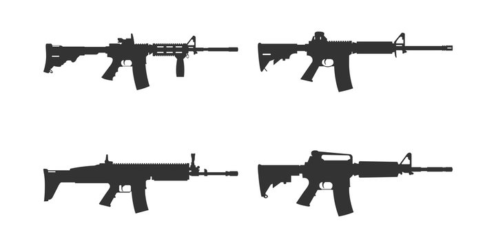 Set of assault rifle silhouette vector. AR machine gun