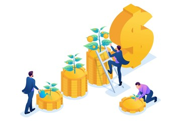 Isometric Conceptual save and increase investment, capital, income growth. Concept for web design Fotomurales