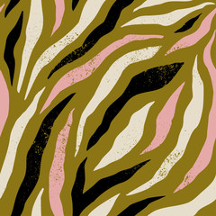 Background with colorful Zebra skin pattern. Trendy hand drawn textures.
