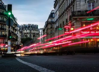 Canvas Prints London red bus Light Trails On Road In City At Night