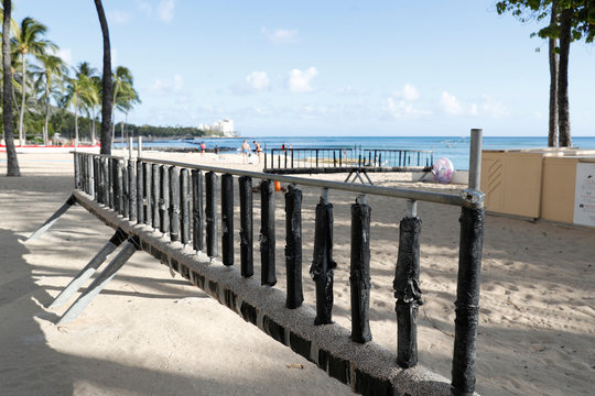 A surf board concession stand is closed on Waikiki Beach due to the business downturn caused by the coronavirus disease (COVID-19) in Honolulu