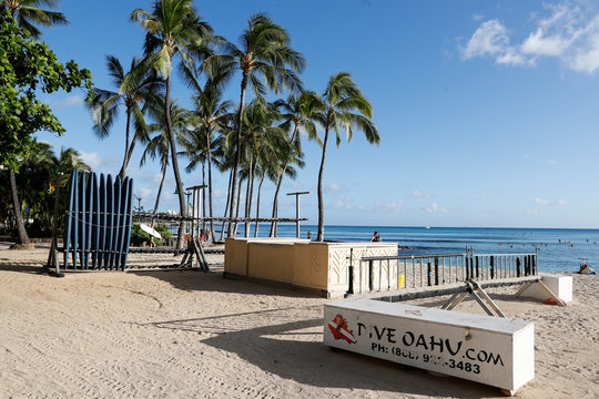 A surfboard concession stand is closed on Waikiki Beach due to the business downturn caused by the coronavirus disease (COVID-19) in Honolulu