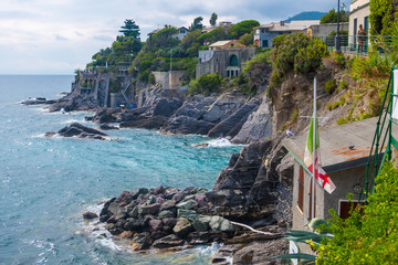 Bogliasco, Italy - August 19, 2019: Picturesque resort Bogliasco on Ligurian seashore near Genoa in Liguria, Italy