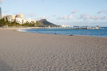 Waikiki Beach is nearly empty due to the business downturn caused by the coronavirus disease (COVID-19) in Honolulu