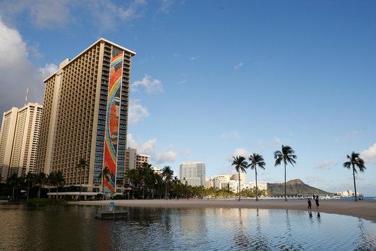 Waikiki Beach is near empty due to the business downturn caused by the coronavirus disease (COVID-19) in Honolulu
