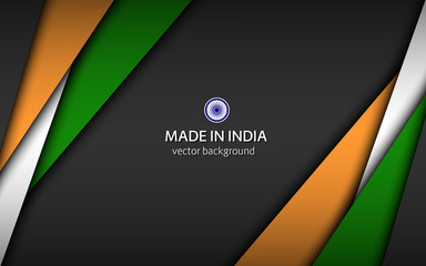 Made in India, modern vector background with Indian colors, overlayed sheets of paper in Indian colors, abstract widescreen background Fotomurales
