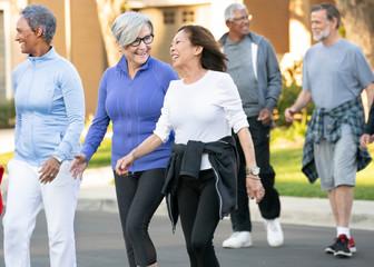 senior adults walking in community