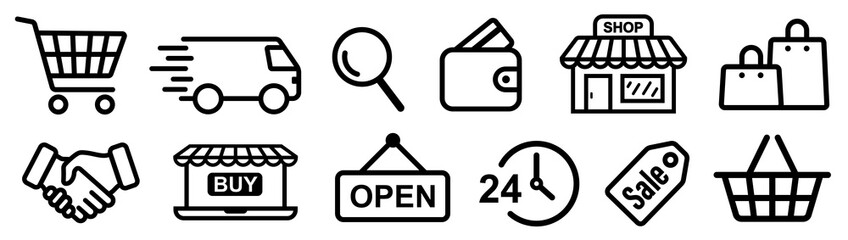 Shopping icons set. Online shopping. Vector