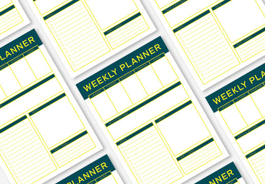 Weekly Planner Layout with a Green and Yellow Color Scheme