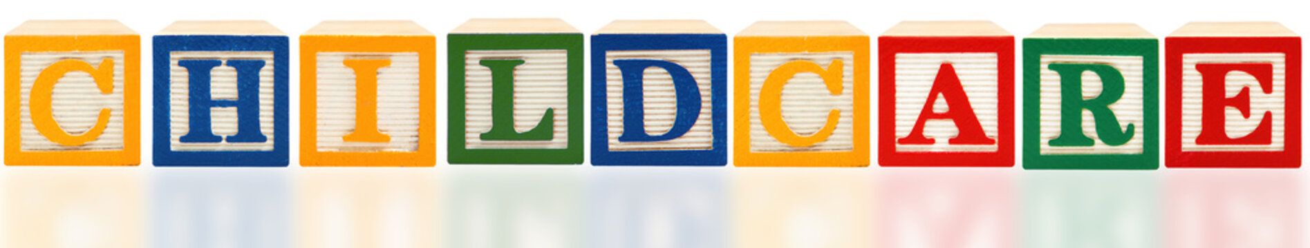 Childcare spelled out with Alphabet Blocks