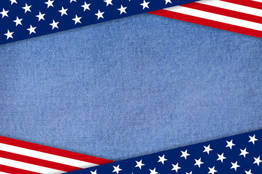 USA Patriotic background on denim jeans textile
