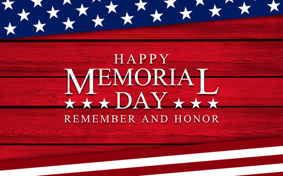 USA Memorial Day background on wood
