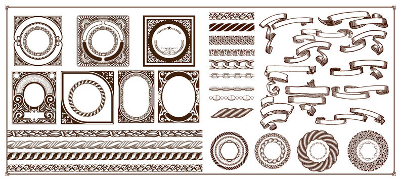 Mega creation kit, borders, banners, baroque labels with ornaments and floral details