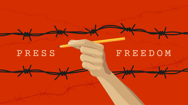 Detailed flat vector illustration of a hand holding a pen between layers of barbed wires. World Press Freedom Day. Feel free to use only parts of the illustration too.