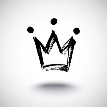 Hand drawn isolated crown black silhouette. Grunge brush and pencil (chalk or charcoal) texture. Made by tracing, white background. Vector illustration