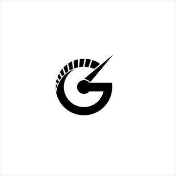 Vector letter G speedometer concept logo design template illustration eps 10