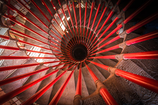 High Angle View Of Spiral Staircases
