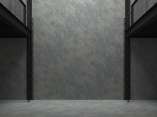 Wall Mural - Blank concrete wall in empty warehouse 3d render,There are polished concrete floor and wall,black steel structure,natural light shining from above into the room.