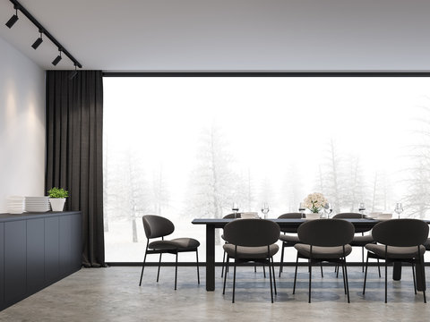 Minimal loft dining with winter background 3d render,There are concrete floor,white wall.Finished with black furniture,The room has large windows. Looking out to see view of winter.