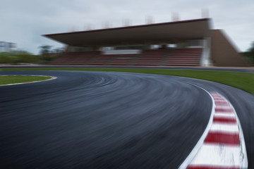 empty f1 racing track, speedy motion blur race circuit