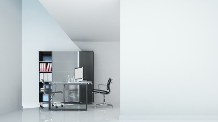 Wall Mural - Office furniture white background- 3D Rendering