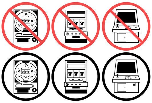 パチンコ パチンコ台 スロット ゲーム筐体 利用 禁止 掲示 忠告 警告 指示 イラスト アイコン