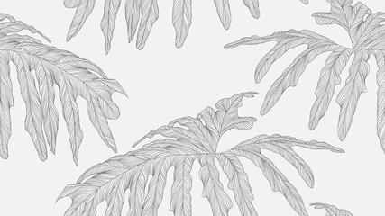 Foliage seamless pattern, Philodendron bipinnatifidum leaves line art ink drawing in dark grey on bright grey