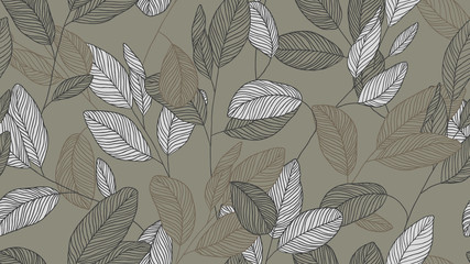 Foliage seamless pattern, eucalyptus leaves line art ink drawing in brown and grey tones