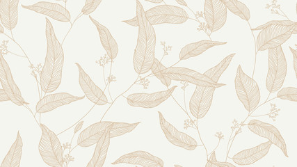 Foliage seamless pattern, eucalyptus leaves and flowers line art ink drawing in brown on bright grey