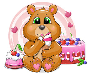 Foto op Textielframe Beren Cute cartoon bear with ice cream, cake and dessert. Vector illustration of an animal isolated on white.
