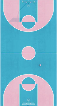 Aerial view abstract pastel pink blue color basketball court with hoop and ball minimalistic composition. 3d render