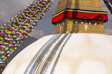 Boudhanath stupa in Kathmandu, Nepal. The Buddhist stupa of Boudhanath dominates the skyline, it is one of the largest stupas in the world Wall mural