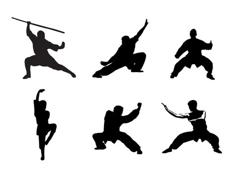 Silhouette of people isolated on white background. Wushu, kung fu, Taekwondo, Aikido.  Sports positions. Design elements and icons. Vector illustration.
