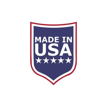 Made in USA shield badge with USA flag elements isolated on white background