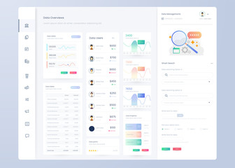 Infographic dashboard. UI design with graphs, charts and diagrams. Web interface template for business presentation.
