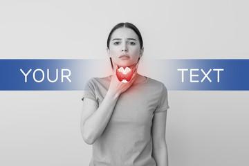 Woman with thyroid gland problem on grey background