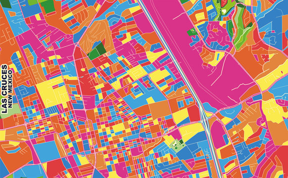 Las Cruces, New Mexico, USA, colorful vector map