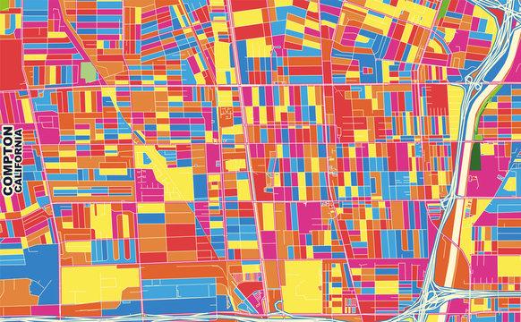 Compton, California, USA, colorful vector map