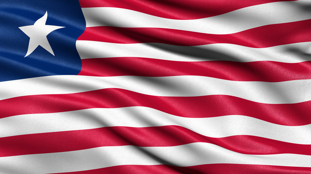 3D illustration of the flag of Liberia waving in the wind.