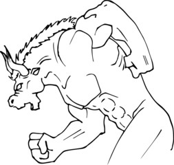 Hand-made sketch of a minotaur run in black and white to be colored