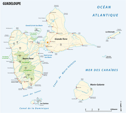 vector road map of the french overseas territory of Guadeloupe