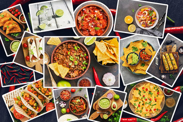 Collection of various Mexican food, a photo collage. Set of traditional Mexican dishes. Top view, flat lay